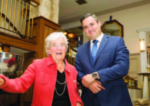 Myrtle Allen and General Manager of The Imperial Hotel, Frits Potgieter are pictured at the 200 year anniversary celebrations of The Imperial Hotel in Cork city. The gala evening took place in the newly refurbished hotel which is located in the heart of Cork City on South Mall. Almost €1 million has been spent renovating this iconic, four-star Flynn family owned property with many of the125 bedrooms now completely refurbished. There is also a new bar, 'Seventy Six on the Mall' and a new gym. 70 guests from the worlds of business, the arts and the media enjoyed a drinks reception before dining on a decadent menu of Ballycotton Crab, Wild Turbot, Angus Beef and Butter Merchants Brown Bread Ice Cream which was prepared by The Imperial's new chef, Nicky Foley. Photo by Conor Healy Photography, ***NO Repro Free*** -ENDS- For further press information or photography please contact Aileen O'Brien, O'Brien PR (045) 407017 (086) 8403624 aileen@obrienpr.com